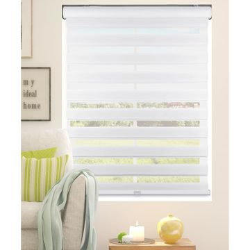 Arlo Blinds White Cordless Zebra Roller, Striped, Sheer or Privacy Shade