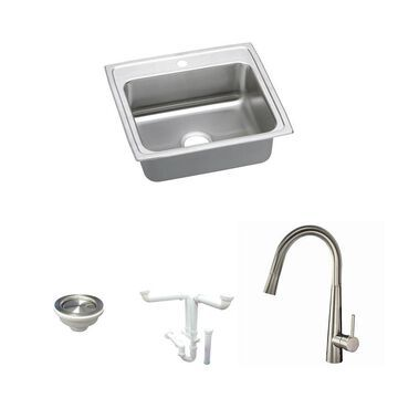 Elkay Lustertone Classic Drop-In 22-in x 19.5-in Lustrous Satin Single Bowl 1-Hole Kitchen Sink All-in-One Kit