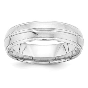 14K White Gold Standard Comfort Fit Satin Fancy Band by Versil
