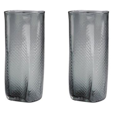 Lazy Susan Glass Vases, Gray Etched, Set Of 2