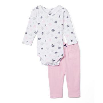 Luvable Friends Girls' Infant Bodysuits Mittens - White Snowflake Bodysuit Set - Newborn & Infant