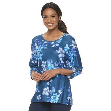 Women's Cathy Daniels Long Sleeve Space Dye Top