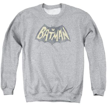 BMT106-AS-6 Batman Classic TV Show Logo-Adult Crewneck Sweatshirt, Athletic Heather - 3X