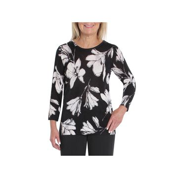 Cathy Daniels Black And White Womens Scoop Neck 3/4 Sleeve Floral Pullover Sweater