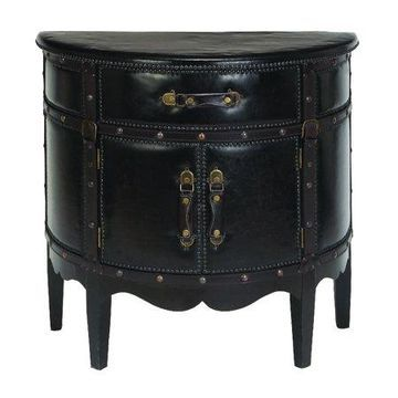 Decmode Traditional Wood and Leather Cabinet, Dark espresso