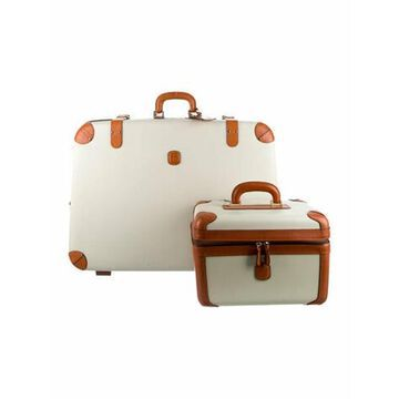 Leather-Trimmed Hardshell Carry-On Two-Piece Set Gold