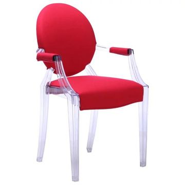 Fine Mod Imports Acrylic Chair With Red Finish, Set of 2