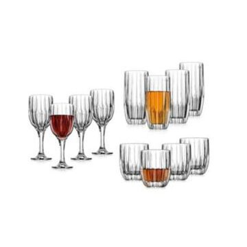 Godinger Pleat 12 Piece Set of Double Old Fashion, Highball, and Goblet Glasses