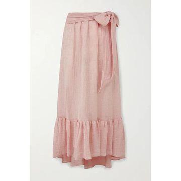 Lisa Marie Fernandez - Nicole Belted Ruffled Linen-blend Gauze Midi Skirt - Baby pink