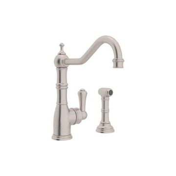 Rohl Kitchen Faucet and Metal Lever Handle in Satin Nickel