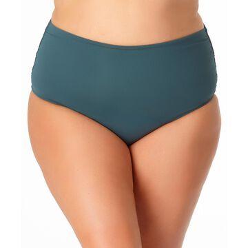 Anne Cole Women's Bikini Bottoms EUCA - Eucalyptus High-Waist Shirred Bikini Bottoms - Plus