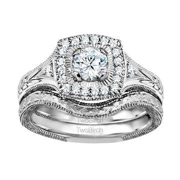 TwoBirch Bridal Set (Two Rings) in 10k Gold and Diamonds (G,I2) (0.74tw) - Clear
