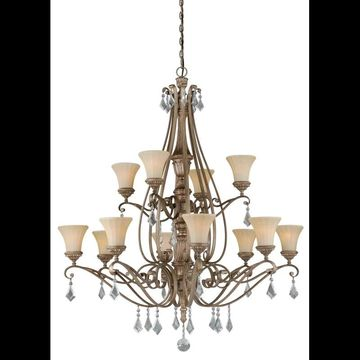 Vaxcel Lighting H0138 Avenant 12 Light Two Tier Chandelier with Glass Shades - 4 French Bronze Indoor Lighting Chandeliers