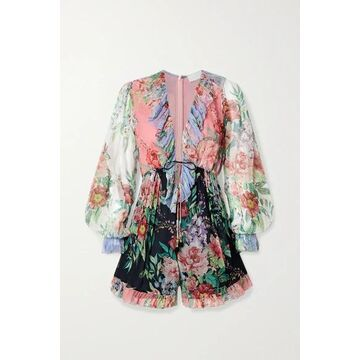Zimmermann - Bellitude Ruffled Patchwork Floral-print Silk-crepon Playsuit - Black