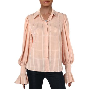 Chloe Womens Bell Sleeve Textured Blouse