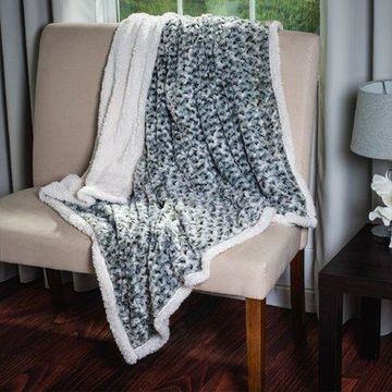 Plush Flower Fleece Sherpa Throw Blanket by Somerset Home