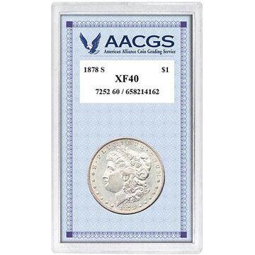 American Coin Treasures 1878's Morgan Silver Dollar (1878S Morgan Silver Dollar, Graded XF40)