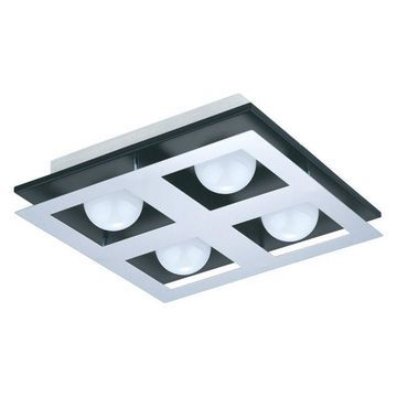 Eglo Bellamonte Flush Mount Ceiling Light, Brushed Aluminum/Black