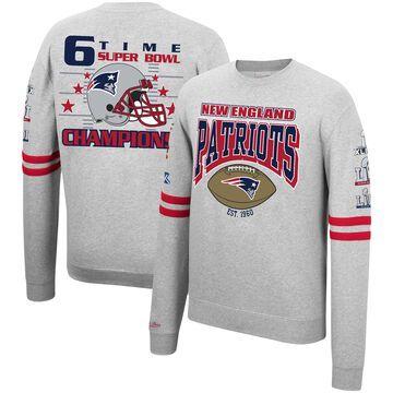 Men's Mitchell & Ness Heathered Gray New England Patriots Allover Print Fleece Pullover Sweatshirt