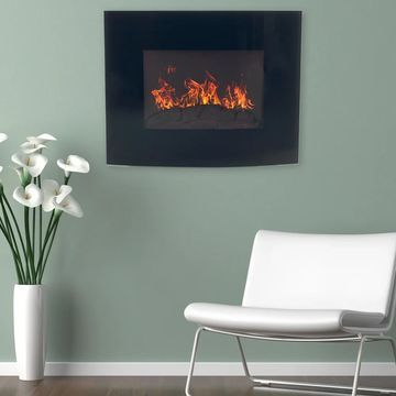 Northwest Black Curved Glass Panel Wall-mounted Electric Fireplace with Remote