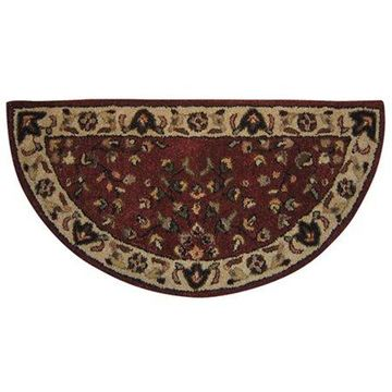 Red with Beige Hand Tufted 100% Wool Rug