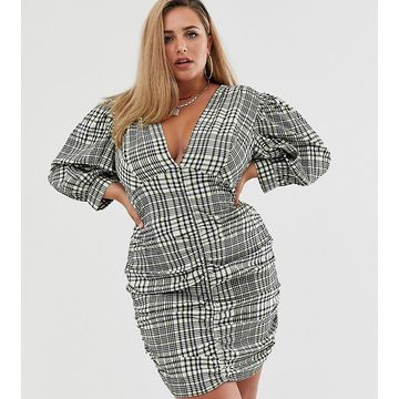 ASOS DESIGN Curve ruched mini dress with puff sleeves in check print