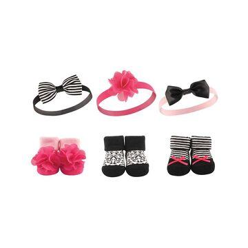 Hudson Baby Girls' Headbands Black - Black & Pink Headband & Socks Set - Infant