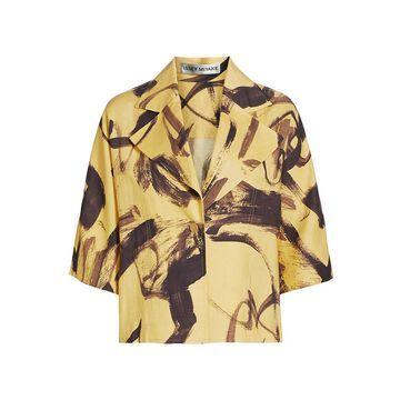 Issey Miyake Brush Stroke Short-Sleeve Jacket