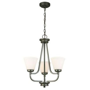 EGLO Mayview 3-Light Chandelier in Graphite with Glass Shades