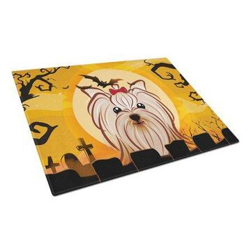 Caroline's Treasures Halloween Yorkie Yorkshire Terrier Glass Cutting Board Large