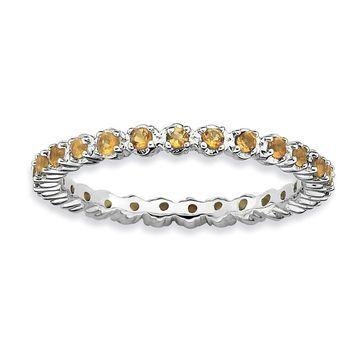 Versil Sterling Silver Citrine Ring