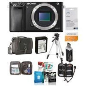 Sony Alpha A6000 Mirrorless Digital Camera Body, Black, 24.3MP - Bundle with Camera Bag, 32GB Class 10 HS SDHC Memory Card, Spare Battery, Cleaning Kit, Tripod, Memory Case, Screen Protector, Software Package, Card Reader
