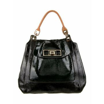 Patent Leather Handle Bag Black