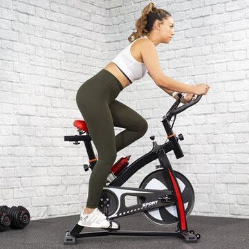 XtremepowerUS Premium Stationary Exercise Bike Cycling Padding Seat Cardio Workout Fitness Cycle w/ Water Bottle
