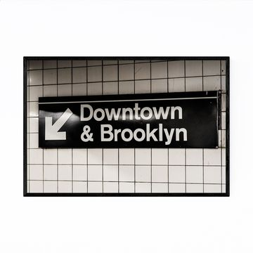Noir Gallery Downtown Brooklyn Subway Sign NY Framed Art Print