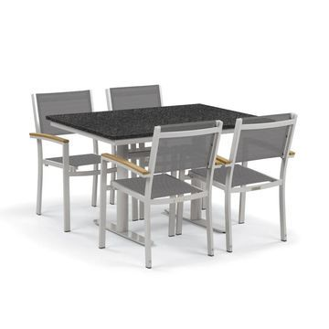 Oxford Garden Travira 5-Piece Bistro Set with 34-inch x 48-inch Lite-Core Charcoal Table - Natural Tekwood, Titanium Sling