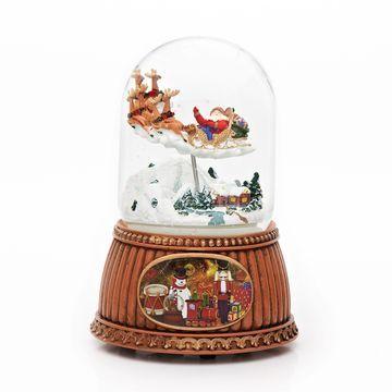 Roman 6.25 Inch Rotating Santa In Sleigh Santa Snow Globe