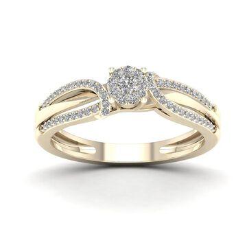 De Couer IGI Certified 1/5ct TDW Diamond Cluster Engagement Ring