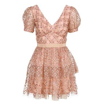 Self Portrait Grid Sequin Tiered Skirt Midi Dress