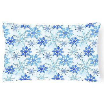 Blue Snowflakes Watercolor Canvas Fabric Decorative Pillow