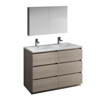 Fresca Senza 48-in Gray Double Sink Bathroom Vanity with White Acrylic Top (Faucet Included) | FVN93-2424MGO-D