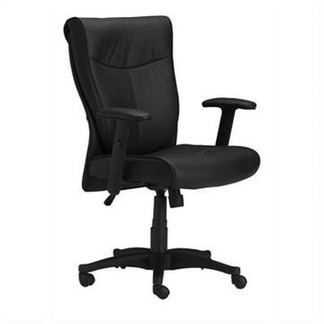 Safco Mercado Black Genuine Leather Conference Office Chair - Black - Mayline