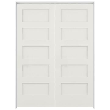 ReliaBilt Shaker 48-in x 80-in Snow Storm 5-Panel Equal Solid Core Prefinished Pine MDF Universal Inswing Double Prehung Interior Door in White