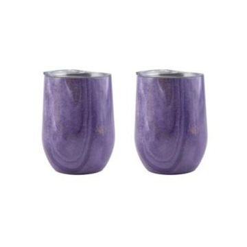 Thirstystone by Cambridge 12 Oz Geode Decal Stainless Steel Wine Tumblers, Pack of 2