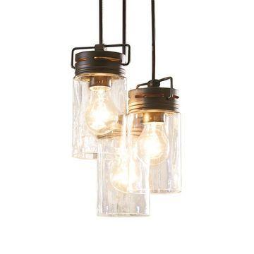 allen + roth Vallymede Aged Bronze Multi-Light Transitional Clear Glass Jar Pendant Light
