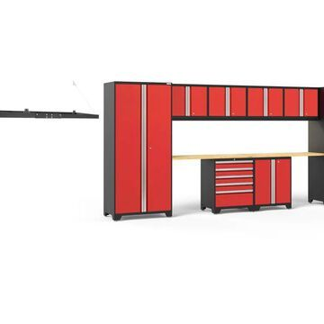 NewAge Products Pro Series 184-in W x 85.25-in H Deep Red Steel Garage Storage System | 54248