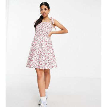 Daisy Street mini cami dress with tie straps and ruching in vintage floral-White