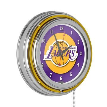 Trademark Gameroom Los Angeles Lakers Clocks Analog Round Wall Clock in Chrome