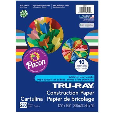 Pacon Tru-Ray 250-sheet 12''x18'' Construction Papers-Assorted Colors