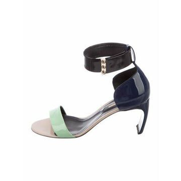 Patent Leather Printed Sandals Blue